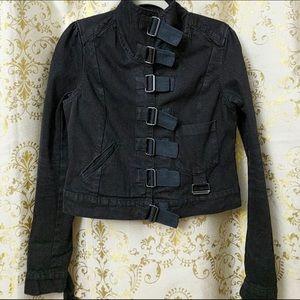 ALLSAINTS All Saints Black Denim Buckle Jacket